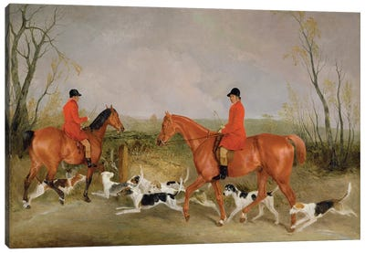 George Mountford, Huntsman to the Quorn, and W. Derry, Whipper-In, at John O'Gaunt's Gorse, nr Melton Mowbray, 1836  Canvas Art Print