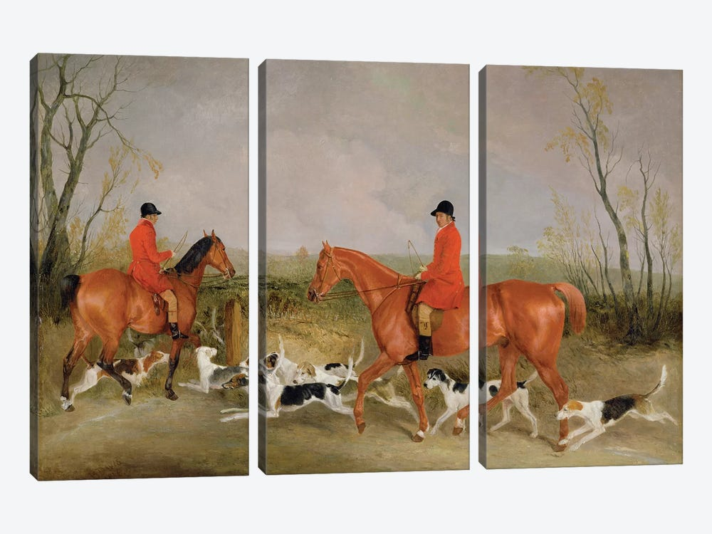 George Mountford, Huntsman to the Quorn, and W. Derry, Whipper-In, at John O'Gaunt's Gorse, nr Melton Mowbray, 1836  by Richard Barrett Davis 3-piece Canvas Art