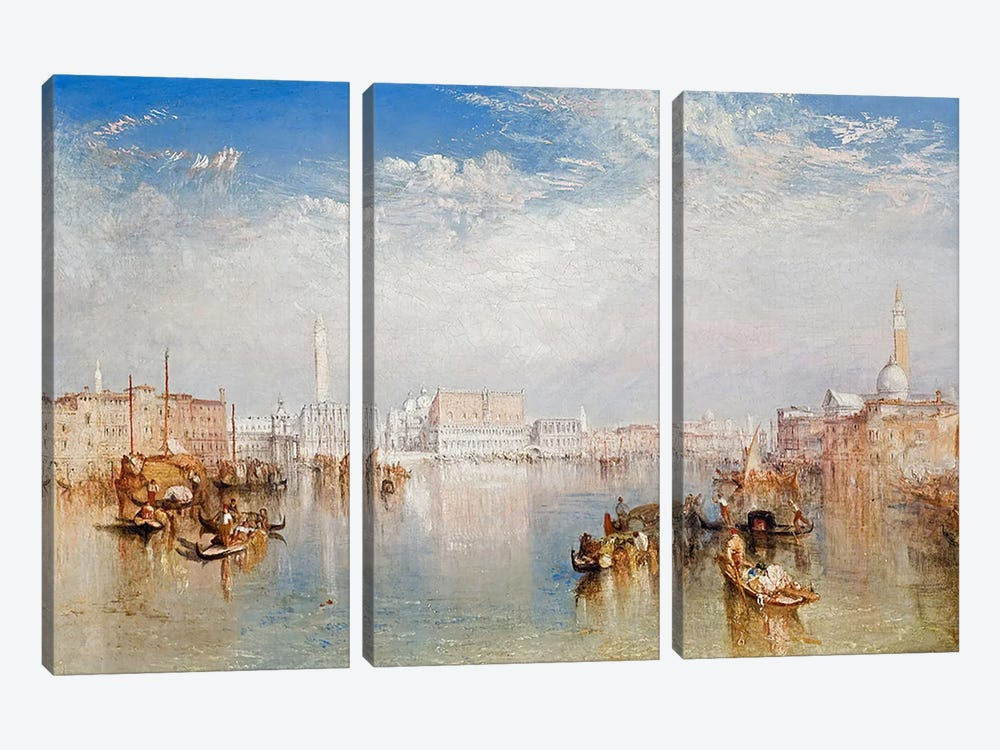 View of Venice: The Ducal Palace, Dogana and Part of San Giorgio, 1841  by J.M.W. Turner 3-piece Art Print