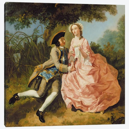 Lovers in a landscape, c.1740  Canvas Print #BMN3211} by Pieter Jan van Reysschoot Canvas Artwork