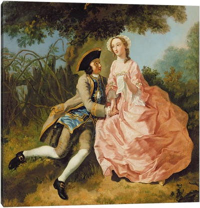 Lovers in a landscape, c.1740  Canvas Art Print
