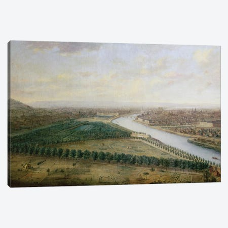 Paris, view from above the Champs-Elysees, c.1740  Canvas Print #BMN3213} by Charles Leopold Grevenbroeck Canvas Wall Art