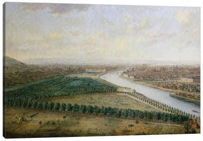 Paris, view from above the Champs-Elysees, c.1740  Canvas Art Print