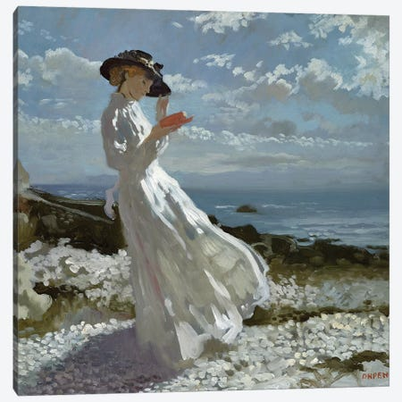 Grace reading at Howth Bay  3-Piece Canvas #BMN3214} by Sir William Orpen Canvas Art Print