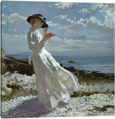 Grace reading at Howth Bay  Canvas Art Print