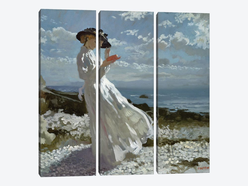 Grace reading at Howth Bay  by Sir William Orpen 3-piece Canvas Art Print