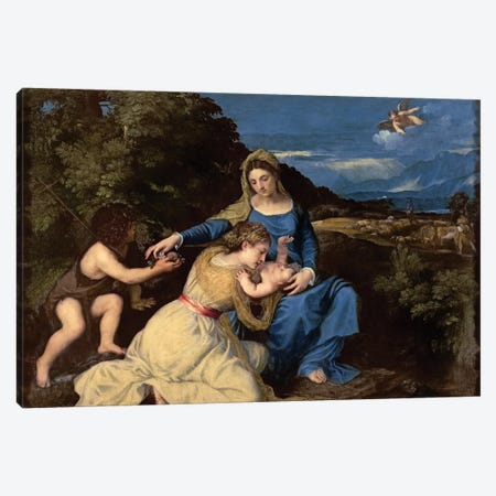 The Virgin and Child with Saints, 1532  3-Piece Canvas #BMN3219} by Titian Canvas Artwork