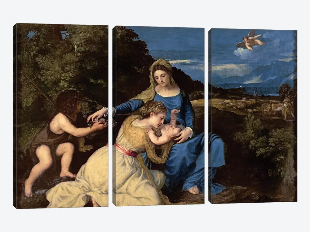 The Virgin and Child with Saints, 1532  by Titian 3-piece Canvas Artwork
