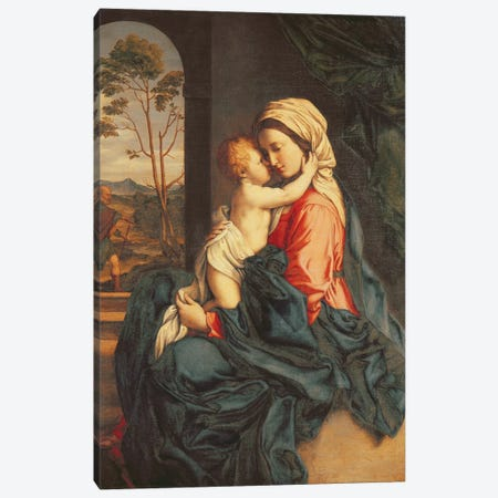 The Virgin and Child Embracing  Canvas Print #BMN3220} by Il Sassoferrato Art Print
