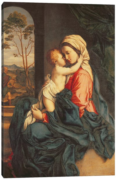 The Virgin and Child Embracing  Canvas Art Print
