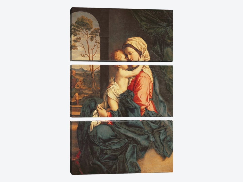 The Virgin and Child Embracing  by Il Sassoferrato 3-piece Canvas Wall Art