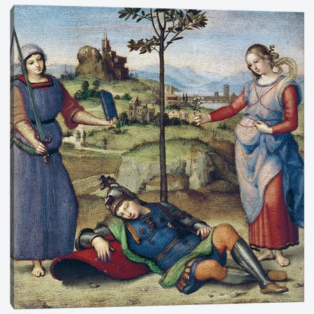 Vision of a Knight, c.1504  Canvas Print #BMN3230} by Raphael Canvas Art