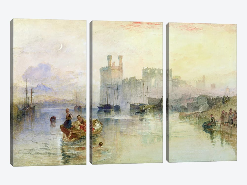 View of Carnarvon Castle  by J.M.W. Turner 3-piece Canvas Art Print
