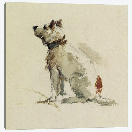 A Terrier, sitting facing left  Canvas Print #BMN3240} by Peter de Wint Canvas Art Print
