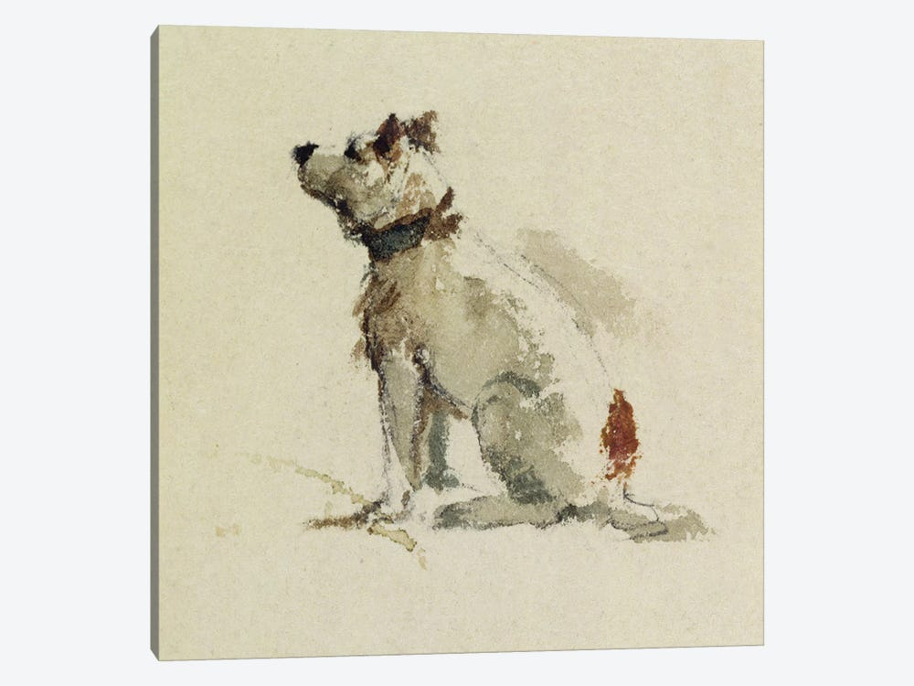 A Terrier, sitting facing left  by Peter de Wint 1-piece Canvas Artwork