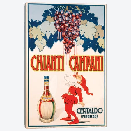 Poster advertising Chianti Campani, printed by Necchi, Milan, 1940  Canvas Print #BMN3248} by Italian School Canvas Print