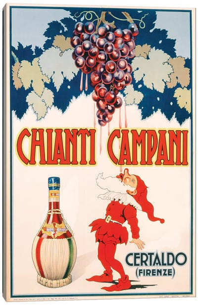 Poster advertising Chianti Campani, printed by Necchi, Milan, 1940  Canvas Art Print