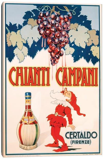 Poster advertising Chianti Campani, printed by Necchi, Milan, 1940  Canvas Art Print
