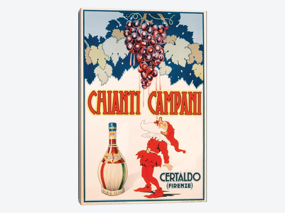 Poster advertising Chianti Campani, printed by Necchi, Milan, 1940  by Italian School 1-piece Canvas Artwork