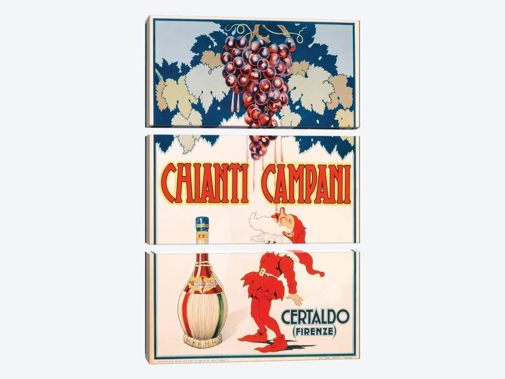 Poster advertising Chianti Campani, printed by Necchi, Milan, 1940  by Italian School 3-piece Canvas Artwork