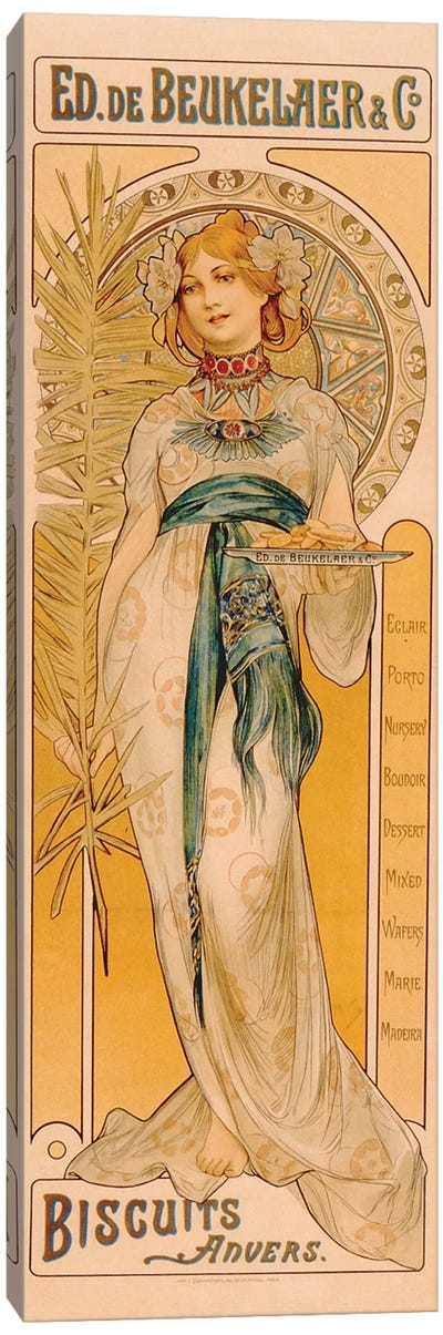 Poster advertising Ed. de Beukelaer & Co. Biscuits Anvers, printed by F. Champenois, Paris, c.1899  Canvas Art Print
