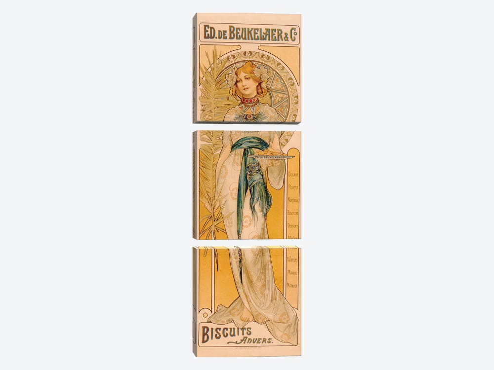 Poster advertising Ed. de Beukelaer & Co. Biscuits Anvers, printed by F. Champenois, Paris, c.1899  by French School 3-piece Canvas Print