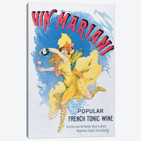 Advertisement for 'Vin Mariani' from 'Theatre' magazine, 1901  Canvas Print #BMN3250} by English School Canvas Artwork