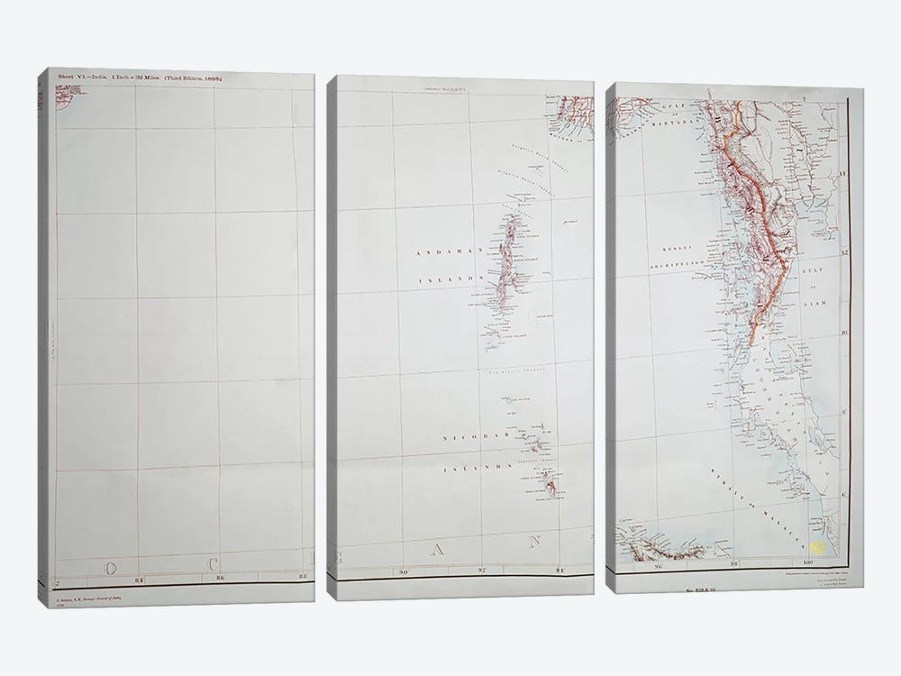 Map of the Andaman and Nicobar Islands, Bay of Bengal, 1898  by English School 3-piece Canvas Print