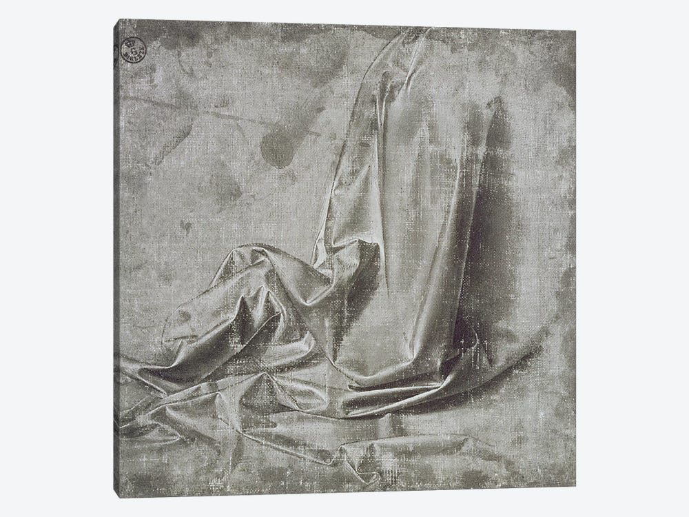 Drapery study for a kneeling figure in Profil Perdu to the right, c.1472-75  by Leonardo da Vinci 1-piece Canvas Art