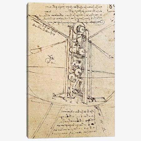 Vertically Standing Bird's-winged Flying Machine, fol. 80r from Paris Manuscript B, 1488-90  Canvas Print #BMN3277} by Leonardo da Vinci Canvas Print