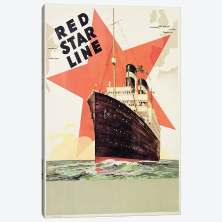 Poster advertising the Red Star Line, printed by L. Gaudio, Anvers, c.1930  Canvas Print #BMN3280} by Belgian School Canvas Print