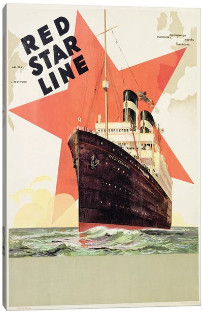 Poster advertising the Red Star Line, printed by L. Gaudio, Anvers, c.1930  Canvas Art Print