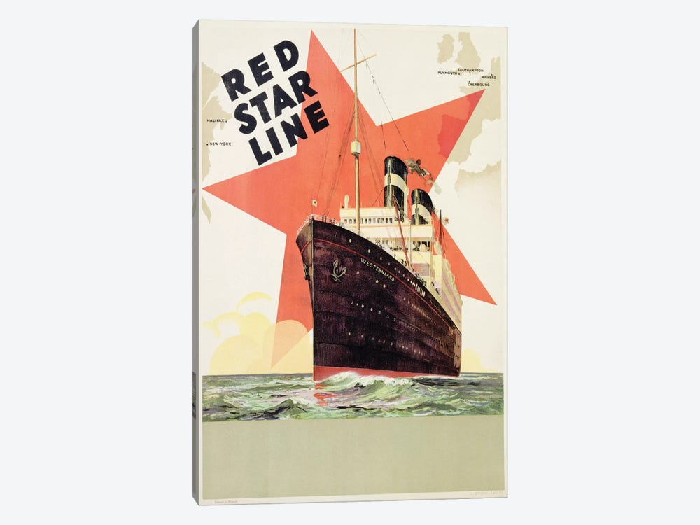 Poster advertising the Red Star Line, printed by L. Gaudio, Anvers, c.1930  by Belgian School 1-piece Canvas Artwork