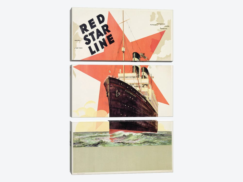Poster advertising the Red Star Line, printed by L. Gaudio, Anvers, c.1930  by Belgian School 3-piece Canvas Art