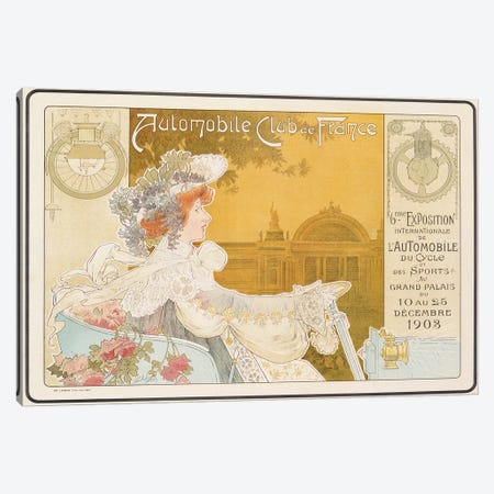 Poster advertising the sixth exhibition of the Automobile Club de France, printed by J. Barreau, Paris, 1903  Canvas Print #BMN3281} by Henri Privat-Livemont Art Print