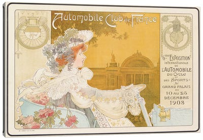 Poster advertising the sixth exhibition of the Automobile Club de France, printed by J. Barreau, Paris, 1903  Canvas Art Print
