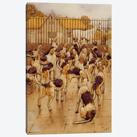 The Hounds began suddenly to howl in chorus  3-Piece Canvas #BMN3283} by Cecil Charles Windsor Aldin Canvas Print
