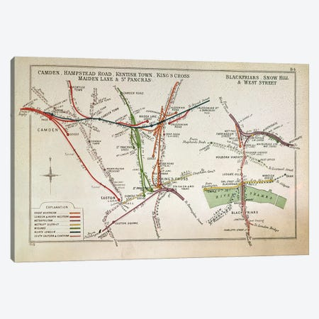Transport map of London, c.1915  Canvas Print #BMN330} by English School Canvas Artwork