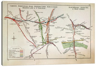 Transport map of London, c.1915  Canvas Print #BMN330