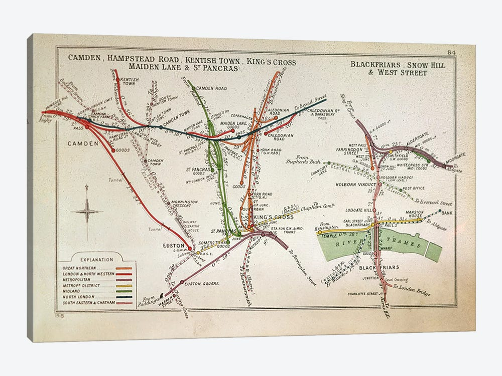Transport map of London, c.1915  by English School 1-piece Canvas Art