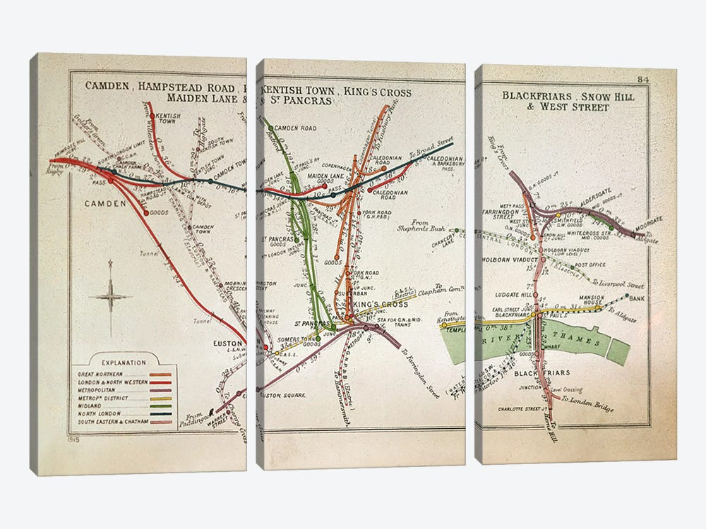 Transport map of London, c.1915  by English School 3-piece Canvas Artwork