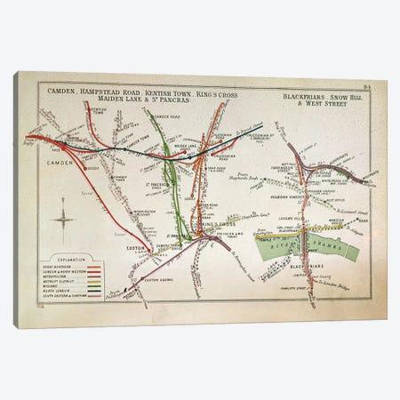 Transport map of London, c.1915  Canvas Print #BMN330} by English School Canvas Artwork