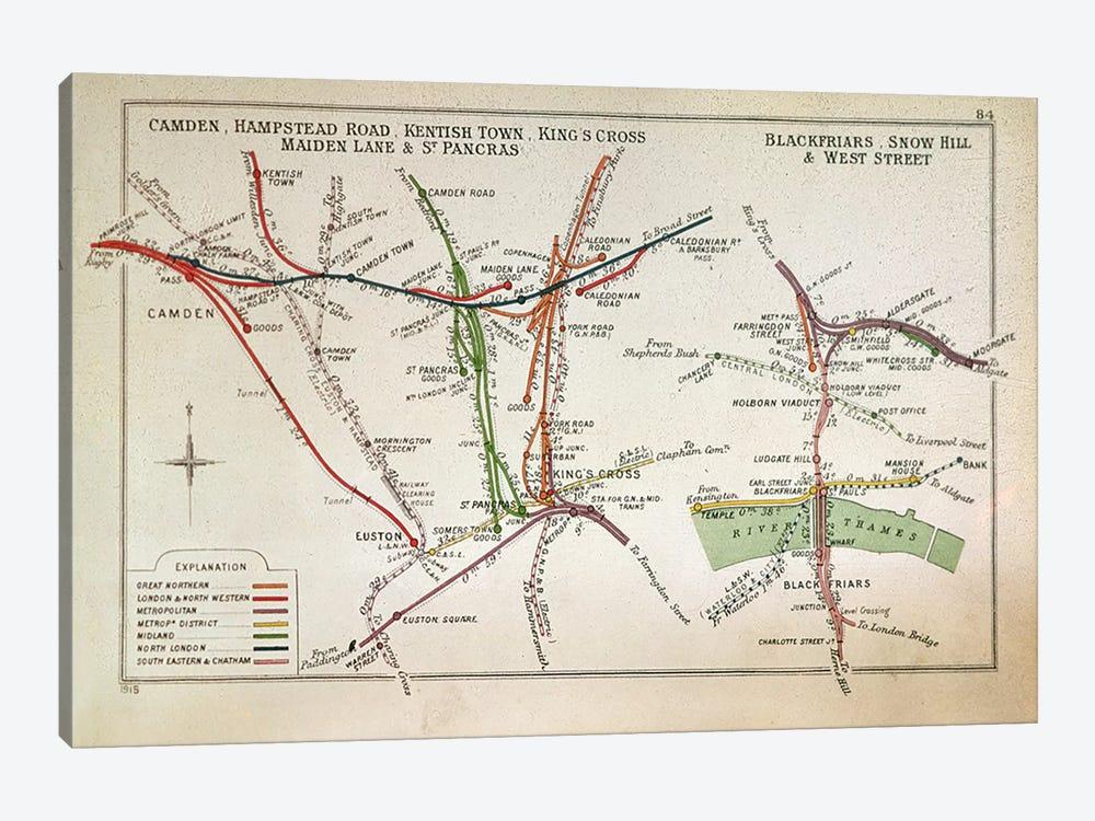 Transport map of London, c.1915  by English School 1-piece Canvas Art