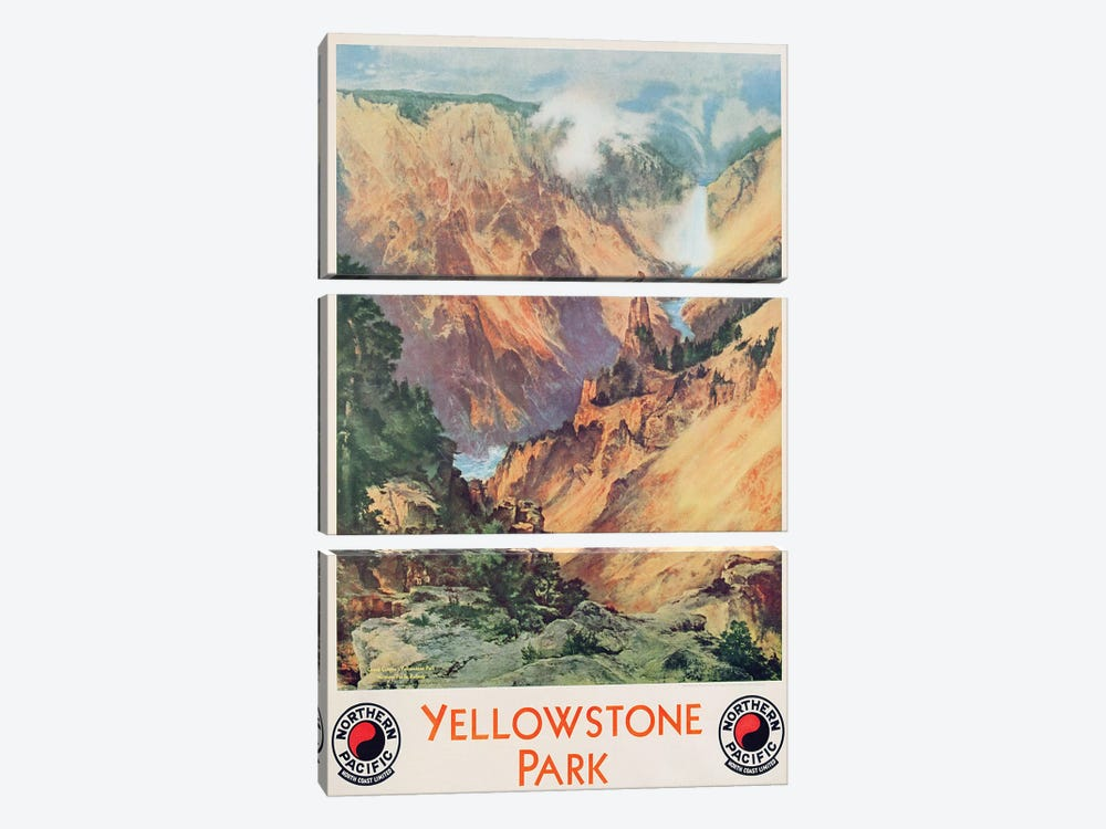 Yellowstone Park, 1934  by Thomas Moran 3-piece Canvas Art Print