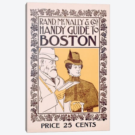 Poster advertising Rand McNally & Co's Handy Guide to Boston, designed by Willing, c.1895  3-Piece Canvas #BMN3313} by American School Canvas Print