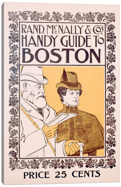 Poster advertising Rand McNally & Co's Handy Guide to Boston, designed by Willing, c.1895  Canvas Art Print