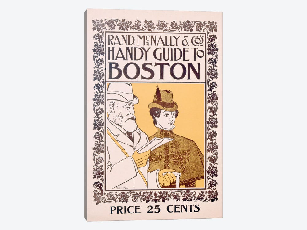 Poster advertising Rand McNally & Co's Handy Guide to Boston, designed by Willing, c.1895  by American School 1-piece Canvas Print