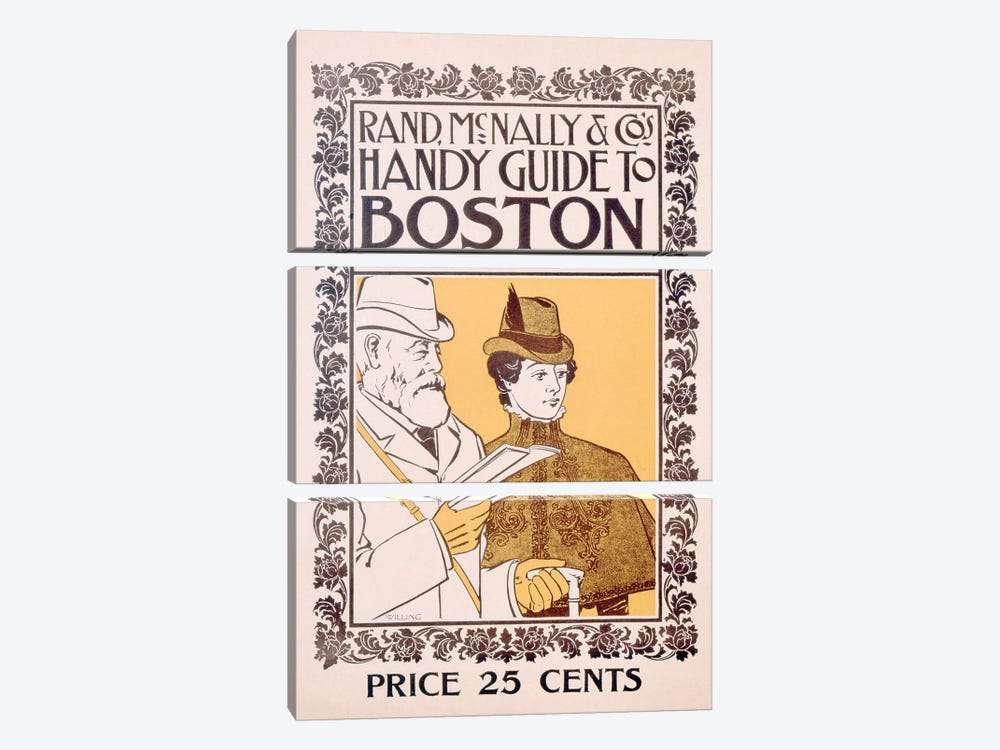 Poster advertising Rand McNally & Co's Handy Guide to Boston, designed by Willing, c.1895  by American School 3-piece Art Print