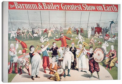 Poster advertising the Barnum and Bailey Greatest Show on Earth Canvas Art Print