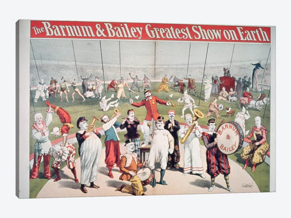Poster advertising the Barnum and Bailey Greatest Show on Earth by American School 1-piece Canvas Print